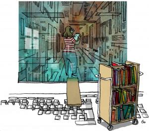 Bibliotekspressen, lån bøger på nettet, bibliotekar, ebog, ebooks, librarian, Gitte Skov, gs, Cartoonist