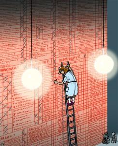 FOA, foa, gs, bureaukrati, bureaucracy, skema, paragrafrytteri, administration, kontrol, sosu, sygehjælper, Gitte Skov, cartoonist, plejehjem
