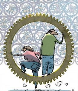 Pensionskassen, gs, tandhjul, efterløn, pensionsalder, færdig på arbejdsmarkedet, retires, Gitte Skov, cartoonist