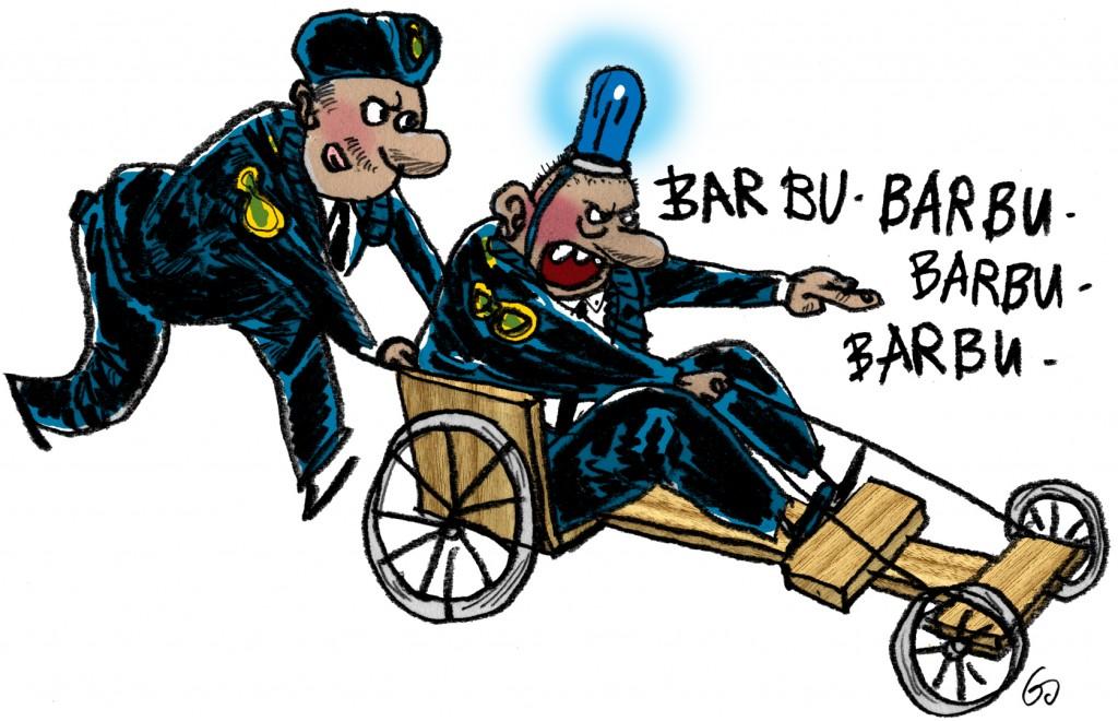 Blæksprutten, gs, nedskæringer i politiet, cuts in police, soapbox car, Gitte Skov, cartoonist