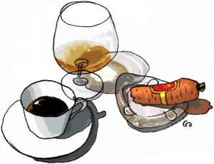 Weekendavisen, no smoking, gs, no cigar, ingen cigar, cognac og kaffe, cognac and coffee, Gitte Skov, Gs, Cartoonist