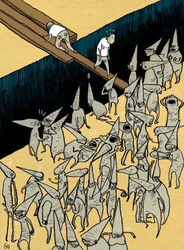 Socialpædagogen, gs, krydser kløft, socialworker, social pædagog, Gitte Skov, cartoonist