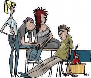 Weekendavisen, gs, Gitte Skov, cartoonist, teacher, pupils, elever, ræk hånden op, ingen diciplin, ingen respekt for læreren, undervisning,