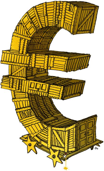 trojansk hest, krise, euro crisis, Gitte Skov, cartoonist, weekendavisen, Gs