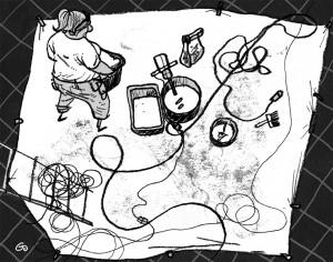 Kvindelig håndværker set oppefra, murerspand, værktøj, Gitte Skov, Gs, teckningsmuseet i laholm, cartoonist
