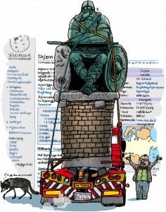 Weekendavisen, cartoon, Gitte Skov, Holger Danske, Wikipedia, Skjern, d'Ogier de Danemarche, Ogier the Dane