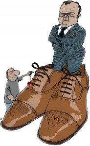 Lars Loekke, Lars Løkke, store sko til kr. 2000,-, klovn, klovnenæse, idiot, clown, voter, vælger, vælgerdom