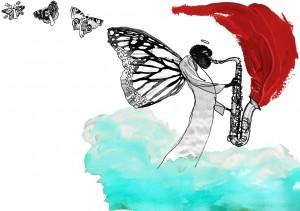 sommerfugl, engel, saxofon, black angel plays saxophone, sax, Den dag Gustavs tæer voksede in i himlen, Gyldendal, Gitte Skov, gs