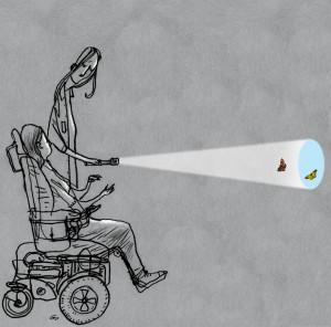 Gitte Skov, cartoonist, kørestol, spastisk lammelse, wheelchair, muscular dystrophy, fysioterapeuten, cerebral palsy, scelerose, muskelsvind, handicap