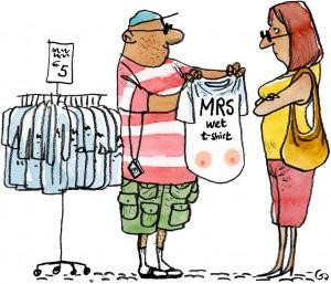 Mrs Wet t-shirt, hanging tits, menopause, overgangsalderen, Politikens forlag, Gitte Skov, gs