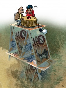 Tænk Penge, Gitte Skov, gs, finansiel rådgivning, financial advice, spåkone, fortune-teller, krystalkugle, crystal ball, house of cards, korthus