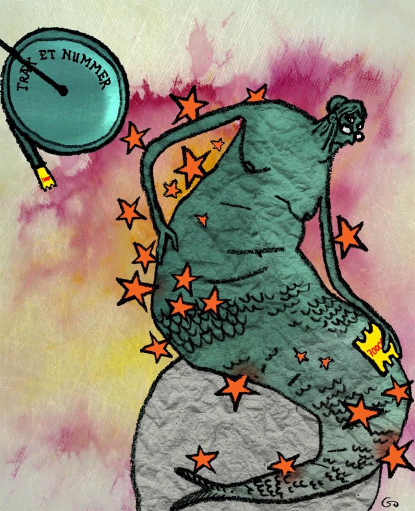 FOA, foa, gs, Gitte Skov, cartoonist, rygsmerter, træk et nummer, backpains, take a number, the little old mermaid