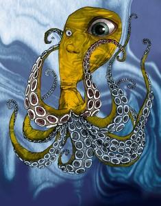 squid, octopus, Gitte Skov, cartoonist, gs, Wingedchariot.com, Forfatteren