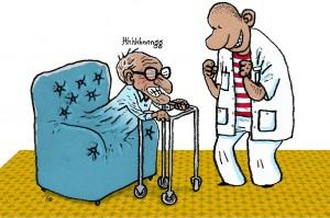 physiotherapist, Fysioterapeuten, Gitte Skov, gs, groet sammen med stolen, sidder fast, motion stimulerer, rollator,lænestol,