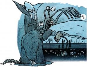 weekendavisen, gs, nightmare, under sengen, sov trygt, sleep, dream, drøm, night, mareridt, Gitte Skov, cartoonist