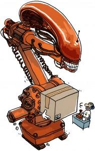 robot på fabrik, tunge lyft, alienrobot, Barometer, Gitte Skov, gs
