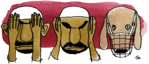 Weekendavisen, Gitte Skov, gs, vantro, hear no evil see no evil, An infidel dog with muzzled, muslim