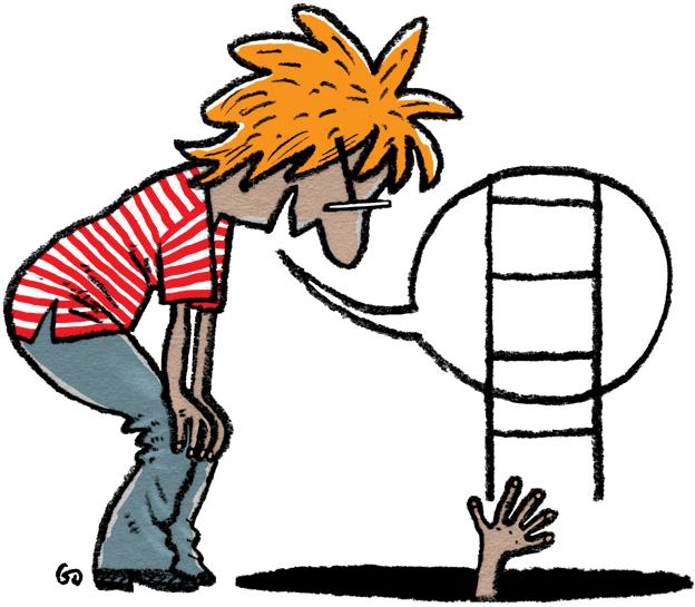Danske Kommuner, Gitte Skov, cartoonist, sort hul, peptalk, terapeut,feeling down, bunden er nået, deprimeret