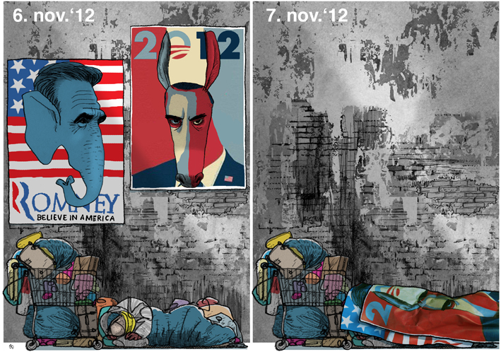 Obama, Mitt Romney, homeless in USA, after the election, Blæksprutten, Gitte Skov, Gs