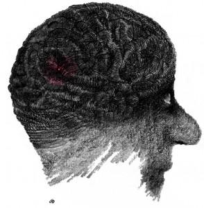 Weekendavisen, cartoon, Gitte Skov, lyslederkabel i hjernen, fiber optic cable in the brain