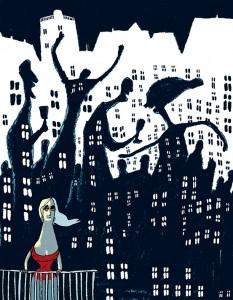 woman alone on balcony, Gitte Skov, Cartoonist, Danske Drømme, Alfabeta