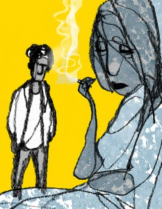 blue, woman smokes, man leaving, shadow, Gitte Skov, drawing, Danske Drømme, Alfabeta, Gs
