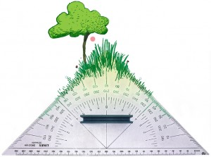 Weekendavisen, arkitektur med træer, græs, blomster, vinkellinial, Gitte Skov, Cartoon