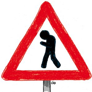 Mobile zombie ahead warning sign